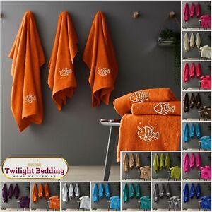 3 PIECE BATH SHEET TOWELS BALE SET 100% Egyptian Cotton Embroidery Fish Towel