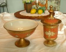Vintage CERAMICHE FLORENTINE CONSOLE BUFFET SET Compote & Bowl Hollywood Glam