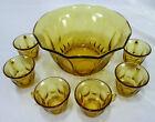 Hazel Atlas Golden Pebble-stone Amber Punch Bowl + 6 Cups