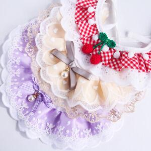 Pet Neckerchief Cute Lace Saliva Towel Bibs Cat Dog Neck Scarf Bandana Collar *