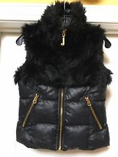 Juicy Couture Womens Black Faux Fur Collar  Puffer Vest Gold Zippers, Size XS