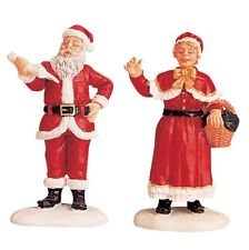 New Lemax Village Mr & Mrs Santa Claus Figurine Accessory 1999 Set Christmas