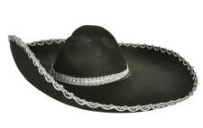 Mexican Black Felt Silver Trim Sombrero Hat Fancy Dress Bandit Costume Mariachi