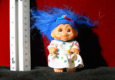 Dam Troll Doll 3 inch 1985 Blue Hair and White Polka Dot Dress with hat
