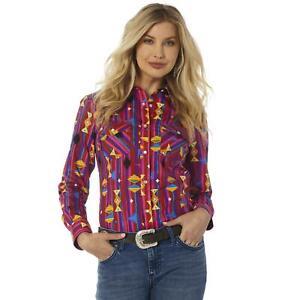Wrangler Women's Bright Western Print Snap Up Western Shirt LW7506M