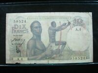 FRENCH WEST AFRICA 10 FRANCS 1946 IVORY COAST 24# BANKNOTE CURRENCY MONEY