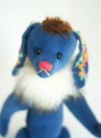 Blue flower Bunny OOAK by Grimmbären