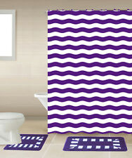 SHOWER CURTAIN MATCHING COVERED FABRIC HOOKS BATHROOM SET 13PC STRIPED PURPLE