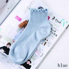 Ladies Ankle Socks Ruffle Edge Trim - Blue - LS0010