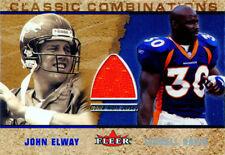 2002 Fleer Classic Combinations John Elway Terrell Davis Game Worn Jersey Card