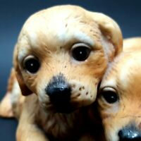 HOMCO HOME INTERIORS Porcelain Puppies Dogs Figurine Masterpiece Hand Painted