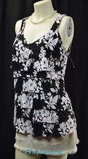 White House Black Market SEXY blouse cami tank Top slinky knit layered ruffle M