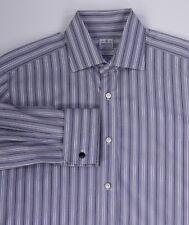 Truzzi Milano Grigio/Blu a Righe, in Cotone Polsino Francese Camicia (41) 16-34
