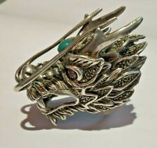 Heavy Dragon Face Ring Natural Stone Pure 925 Solid Silver Handmade Exclusive