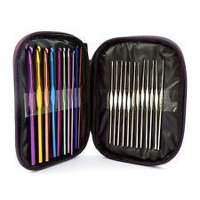 22 Teñido Aluminio Agujas Croché en bolsa 0.6 - 6.5mm agujas Hilo De Tejer