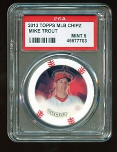 2014 Topps MLB Chipz Mike Trout PSA 9 MINT Oddball Poker Chip GOAT LOW POP MVP
