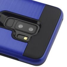 SAMSUNG GALAXY S9 PLUS G965 DARK BLUE BLACK BRUSHED METALLIC HYBRID CASE COVER
