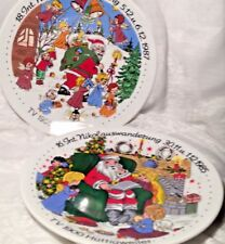 2-Santa Claus Christmas Plate - 1985 & 1987 - Bavaria - Made in W. Germany