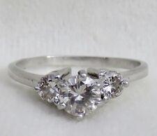 VINTAGE 1940's ART DECO PLATINUM .96 CT. DIAMOND 3 STONE ENGAGEMENT RING