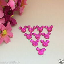 40x Rose Pink 14mm Flat Back Mickey Minnie Mouse Head Resin Rhinestones Gems