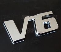 Silver Chrome 3D Metal V6 Square Badge fits Mitsubishi L200 ASX Shogun Pajero
