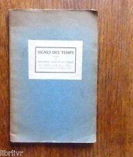 SIGNES DES TEMPS Maurice Martin du Gard Edition originale 1922