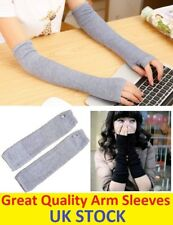 Women Protection Arm Warmer Long Fingerless Stretchy Gloves Sleeves Mittens Grey