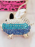 Hot Rhinestone Blue Wing Pig Crystal Pendant Betsey Johnson Chain Necklace Gift