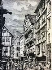 Grande encre Rouen Rue Saint-Romain V 1950 signé ed Aubourg  maison à colombages