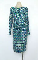 LIZ JORDAN Size L Geometric Print Stretch Dress Ruched Side EUC