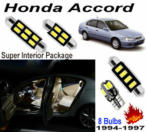 8 Bulbs White Car LED Interior Light Kit For Honda Accord Sedan&Coupe 1994-1997