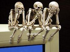 Skeleton See Hear Speak No Evil Pc Topper Skull/Shelf Sitter.Bizarre Decor.New