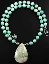 RARE! GENUINE NATURAL UTAH VARISCITE PENDANT PERUVIAN AMAZONITE BEADS NECKLACE