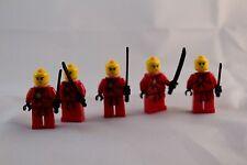 Lot of 5 red Lego ninja samurai warriors mini figures mini fig people men 2632