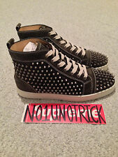 100% AUTHENTIC CHRISTIAN LOUBOUTIN SPIKES LOUIS FLAT SUEDE HIGH TOP SNEAKER 8 41