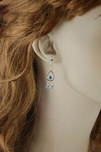 London Blue and Swiss Blue Topaz Dangle Earrings - Sterling Silver
