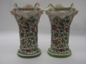 """Royal Doulton """"Persian"""" Mantle Vases (2) made in England D3550 c1912"""