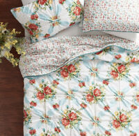New The Pioneer Woman Vintage Floral 3-Piece Quilt Set, Full/Queen Pillow Shams.