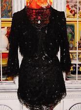 Betsey Johnson VINTAGE Dress Skirt Top Jacket BLACK SEQUIN Bead Coat 3 Piece 2 S