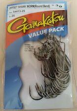 Gamakatsu 54413-25 Size 3/0 Offset Shank Worm Round Bend Fishing Hooks Qty 25