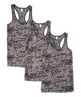 New Women's 3 Pack Gray Burnout Racerback Tank Top Tops Sleeveless S M L XL