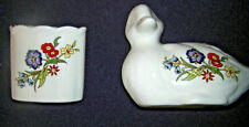 Cre Irish Porcelain Galway Irish Meadow Duck and Cocktail Toothpick Holder