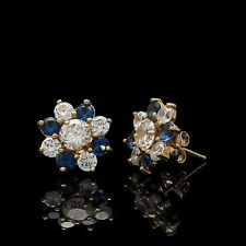 1.5CT Created Diamond Sapphire Cluster Flower Earrings 14k Gold Fancy Studs RARE