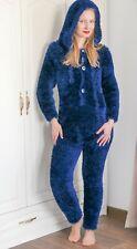 Dark blue fuzzy catsuit decofur bodysuit fluffy thick hoodie bodysuit SuperTanya