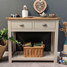 Painted Grey Large Console Table Oak / Solid Wood Hallway Telephone Table Sutton