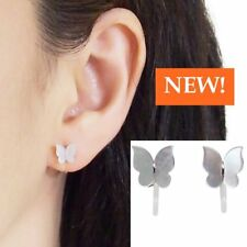 Butterflies White Mother Of Pearl Shell Invisible Clip On Stud Earrings Silver