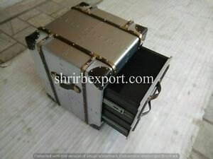Vintage Bedside trunk chest aluminium aviator home bar hotel furniture storage Z
