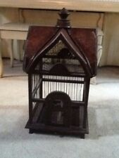 "Decorative Vintage Bird House Cage Brown Wood 25 1/2"" Tall"