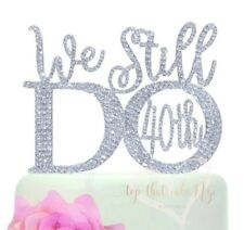 40th Anniversary Vow Renewal silver crystal rhinestone Cake Topper