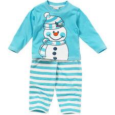 Boys Girls Baby Childs Cute Christmas Snowman Novelty Striped Pyjamas Blue White